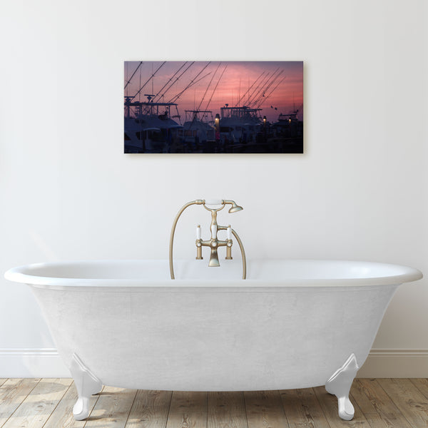 Outer Banks fishing boats docked canvas print in bathroom