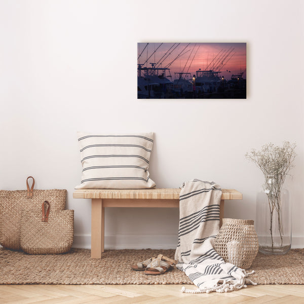 docked fishing boats at sunset canvas wall art over bench
