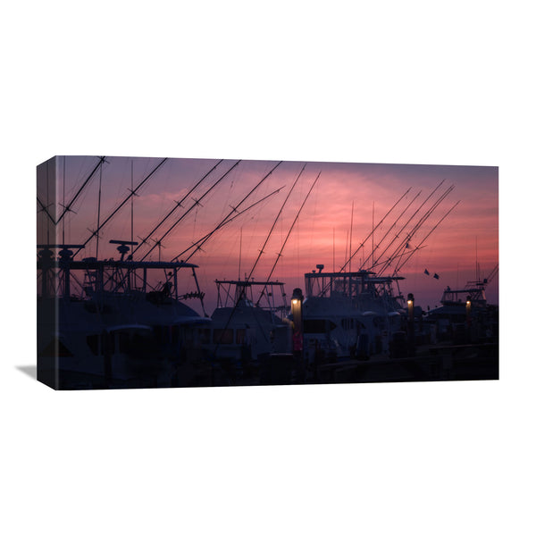 North Carolina canvas of docked fishing boats