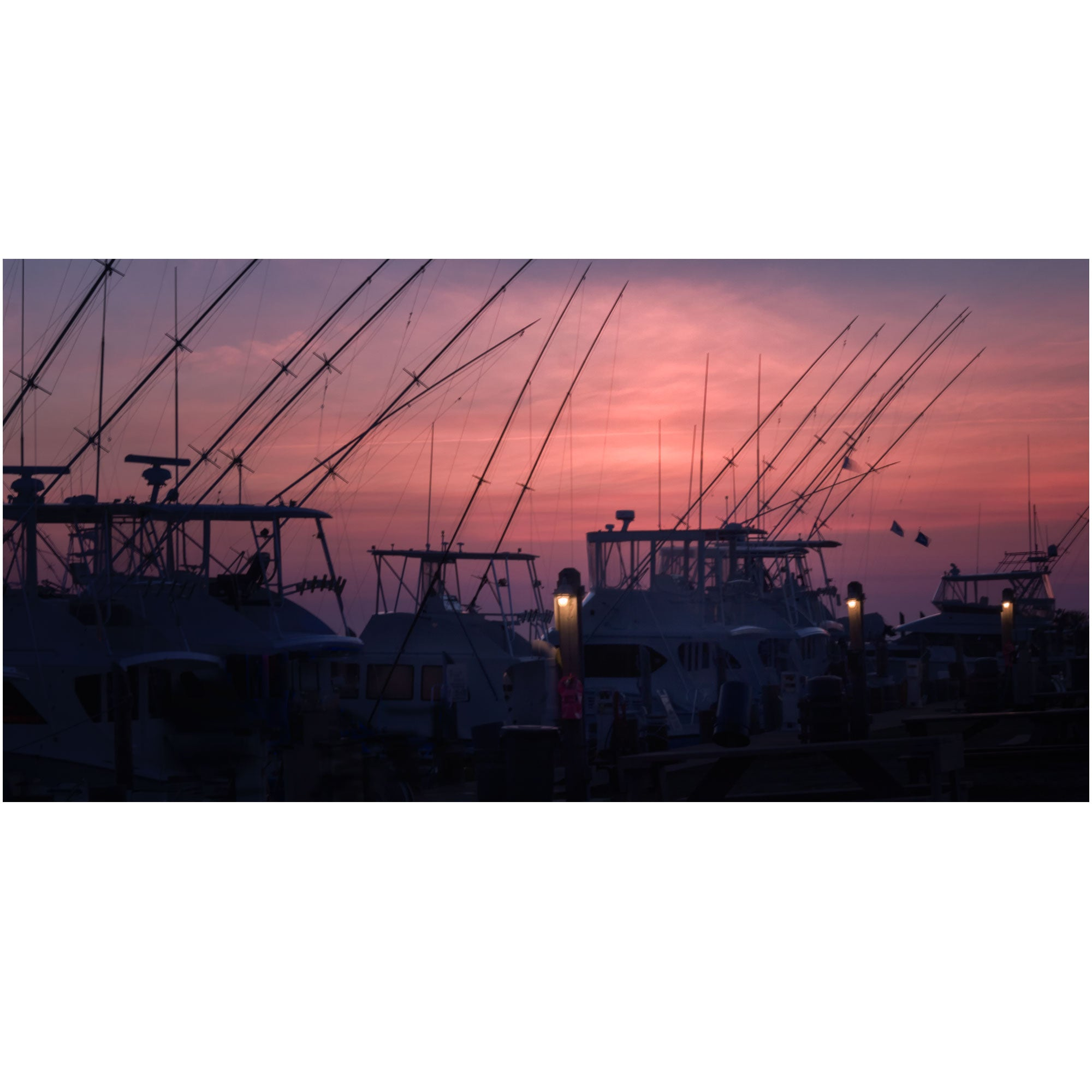 fishing boats docked at sunset in Pamlico Bay Outer Banks
