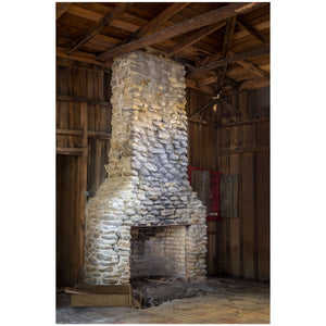 architectural print of a stone fireplace