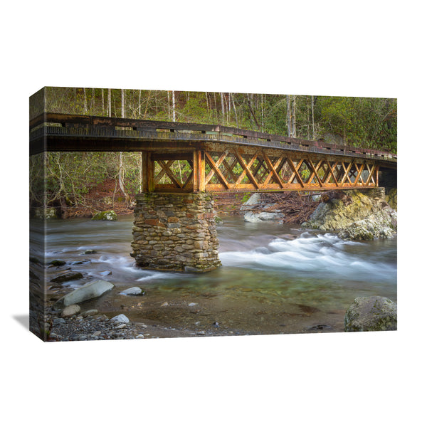 canvas print of a truss bridge