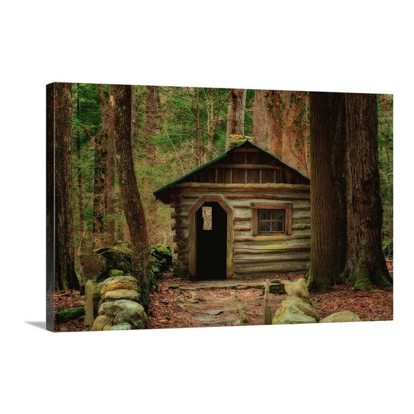 smoky mountains elkmont cabin on canvas