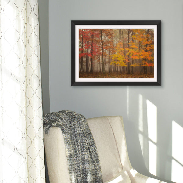 Foggy Fall Morning Photography Wall Art Print