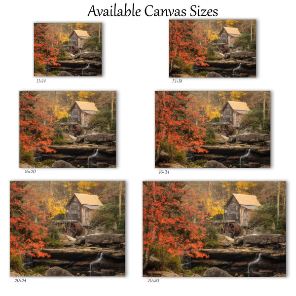 canvas wall art of glade creek grist mill at babcock state park