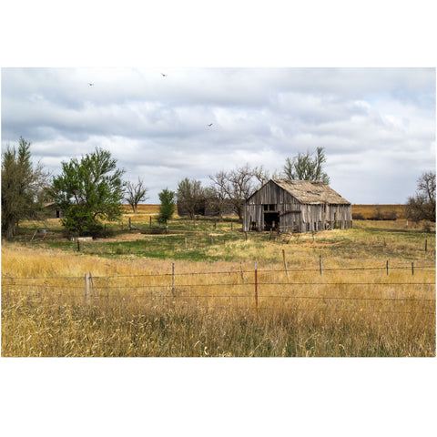 photography wall art of a rustic kansas barn