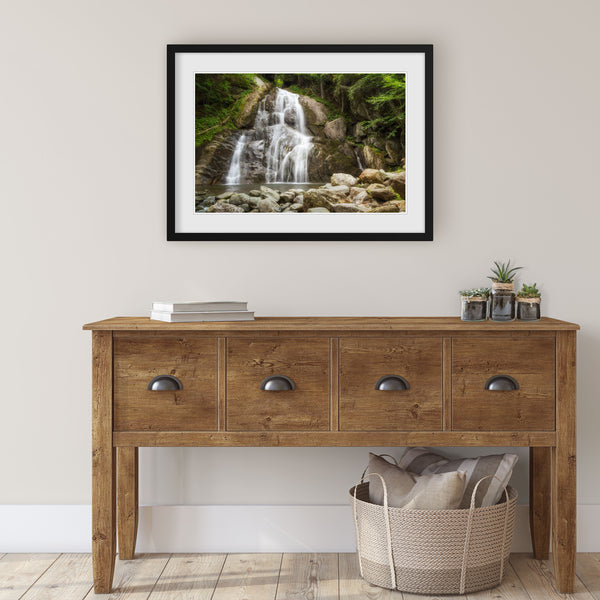 moss glen falls print hanging in the entryway