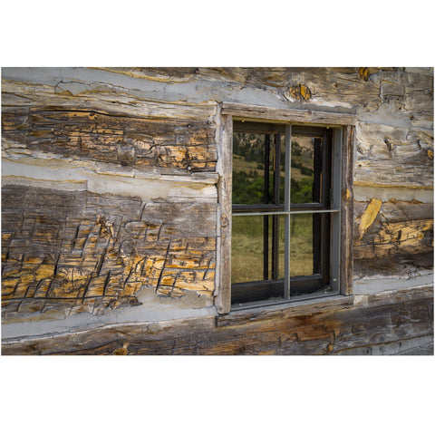 window in an old log cabin photography print