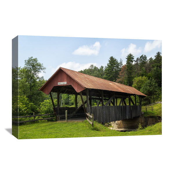 covered bridge canvas wall art