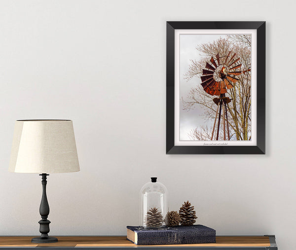 Old Windmill Farmhouse Wall Art Print