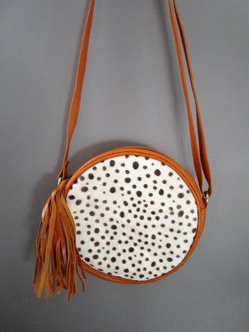 Tan Leather and Cow Hide Round Bag
