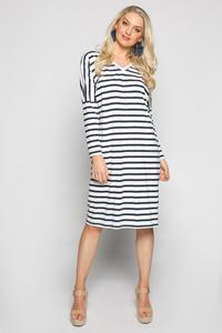 Adrift Relaxed Tee Dress in Navy French Stripe