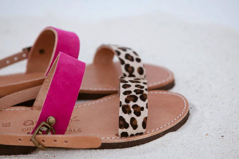 Fuchsia & Animal Print Leather Sandals