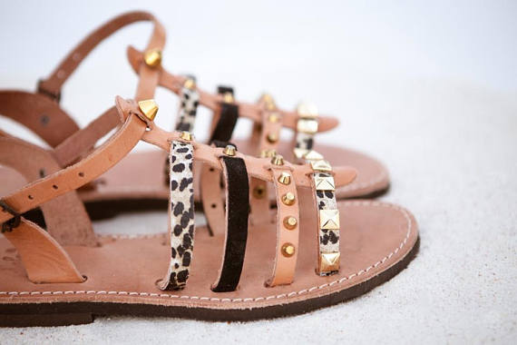 Gladiator Gold studded Leather Sandals