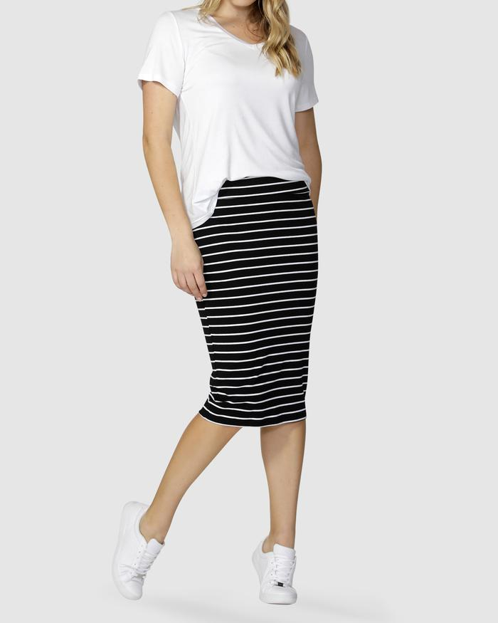 Alicia Midi Skirt - Black and White Stripe