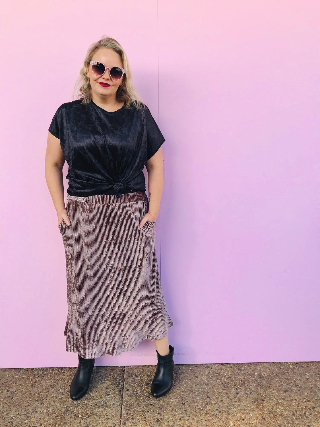 Dusty Pink Velour Midi Skirt