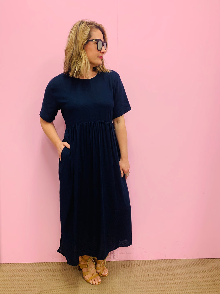 Jocelyn Navy Linen Dress