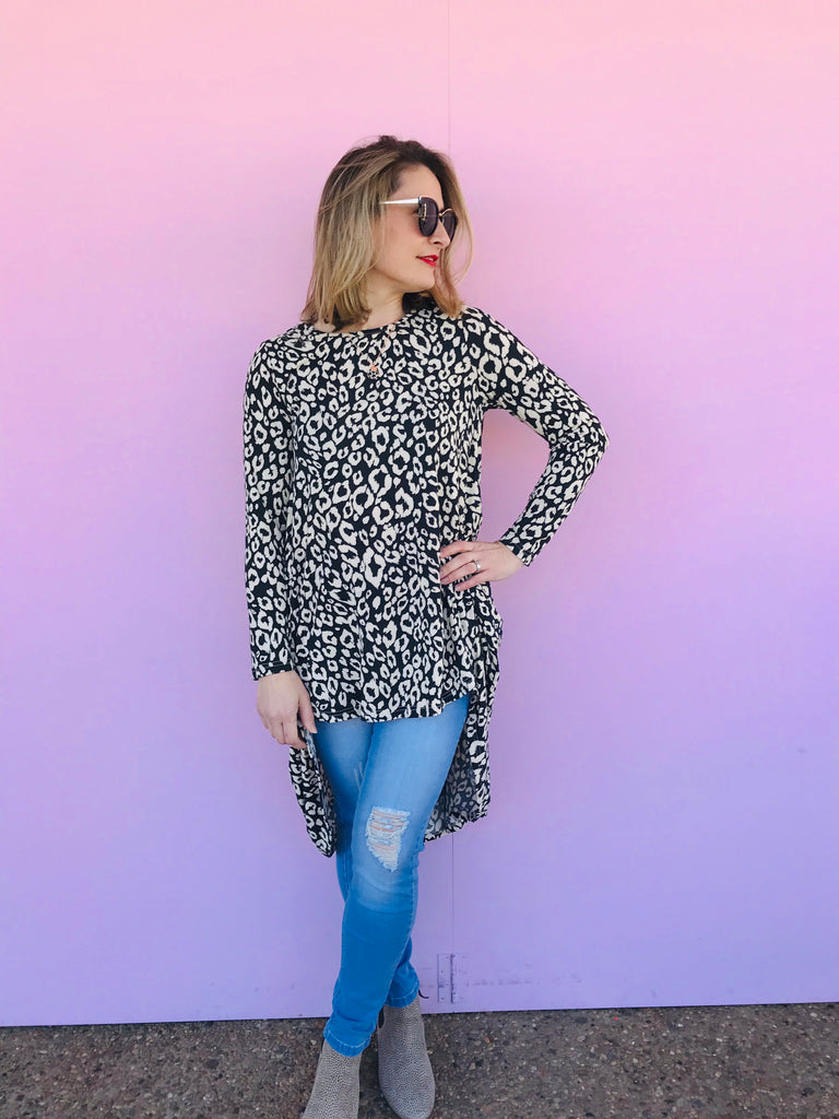 Black and Cream Leopard High Low Top