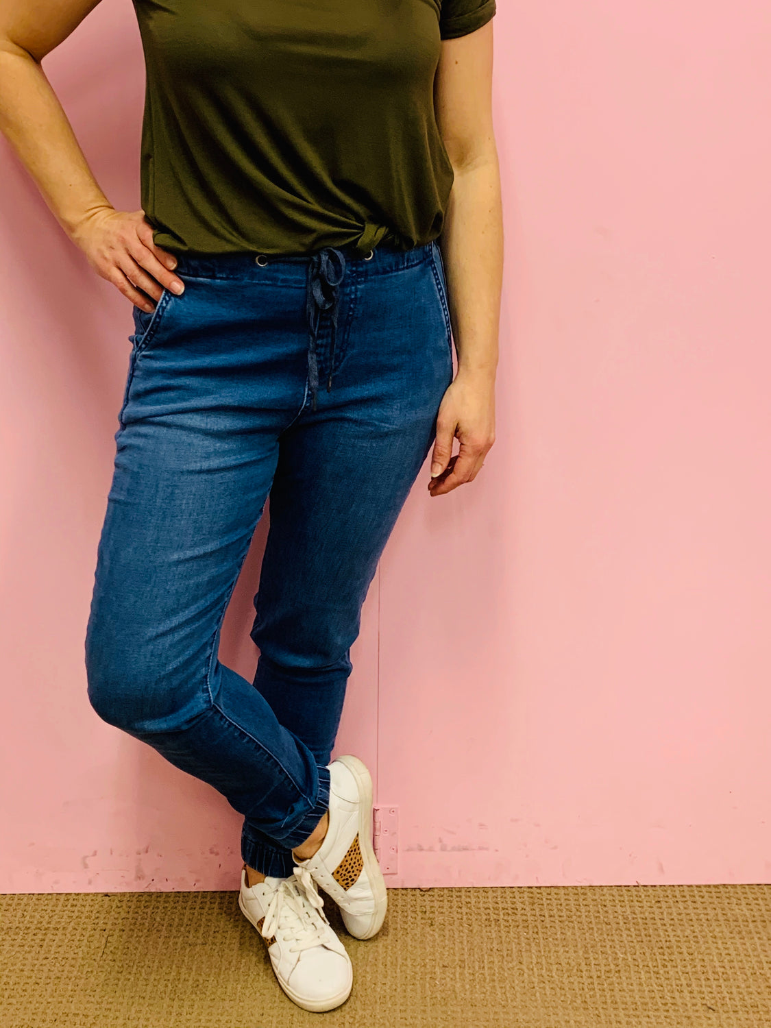 Blue Pull on Jogger Jean