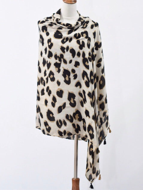 Cream and Black Leopard Print Scarf