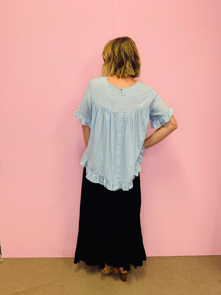 Claudia Blouse-Baby Blue