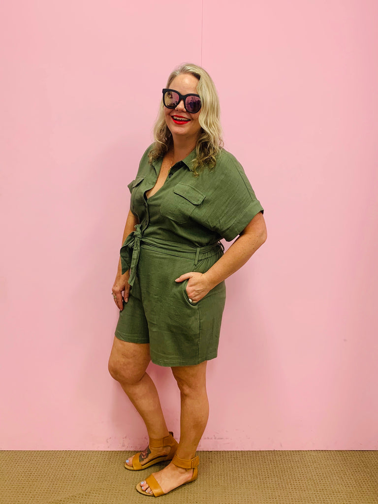 The Stella Jumpsuit-Khaki
