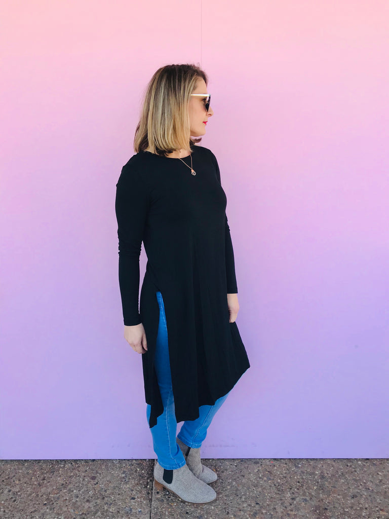 Black Side Split Long Top