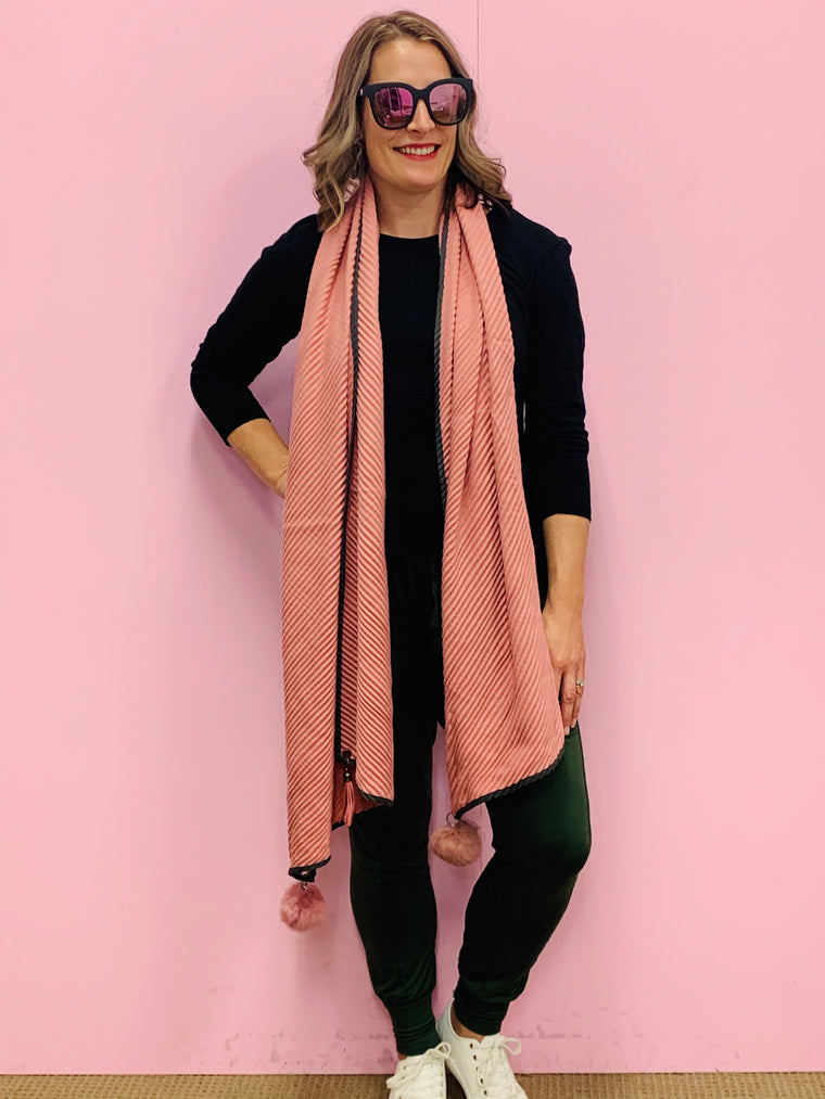 Pink and Khaki Ribbed Pom Pom Scarf