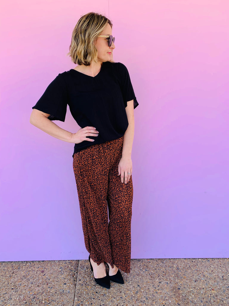 Riley Pleated Culottes - Rust & Black