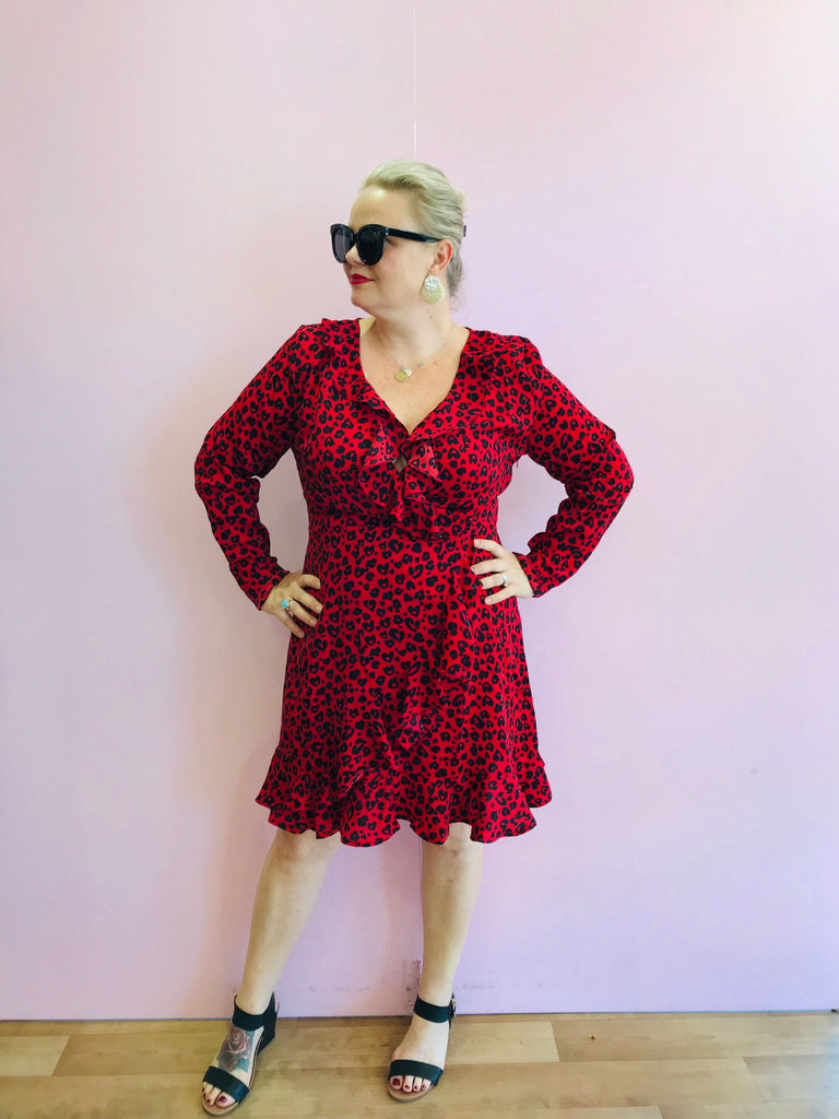Fierce and Brave Red Leopard Dress