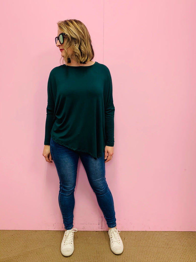 Modal Deep Green Asymmetrical Top