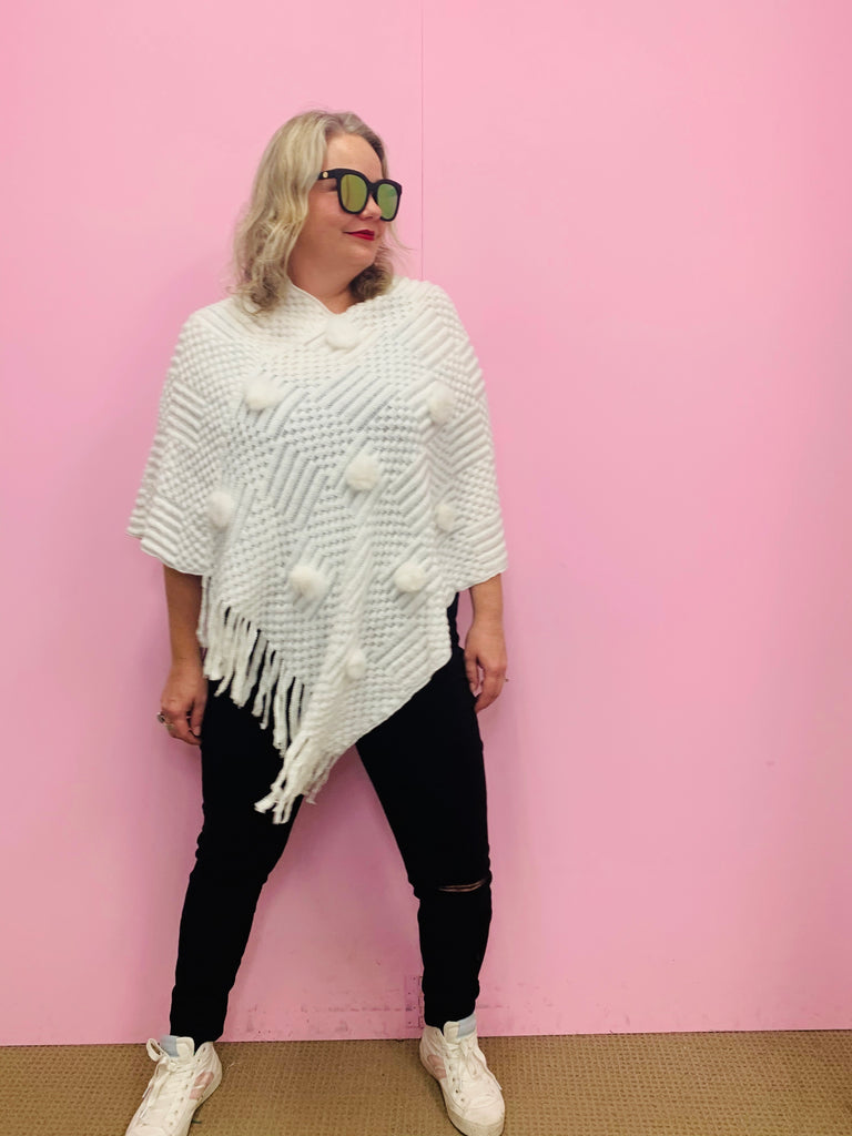 Knit Pom Pom Poncho Top - Cream