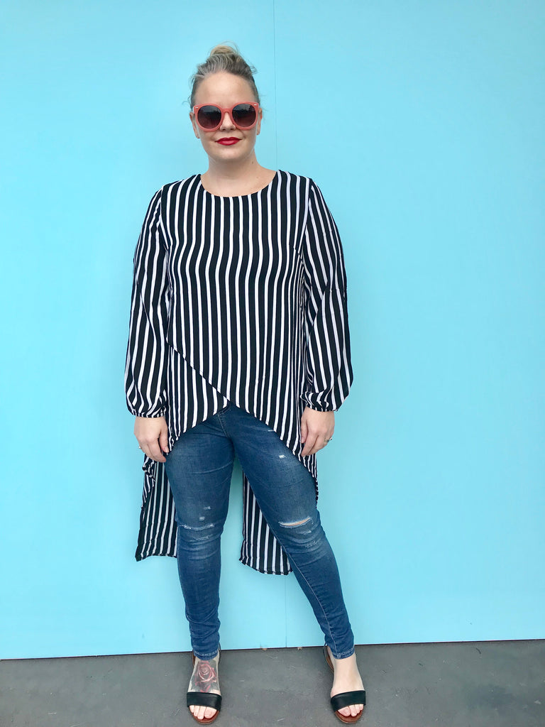 The Mel Stripe Crossover Top