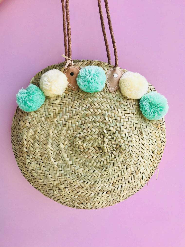 Large Round Straw Tote with Pom Poms