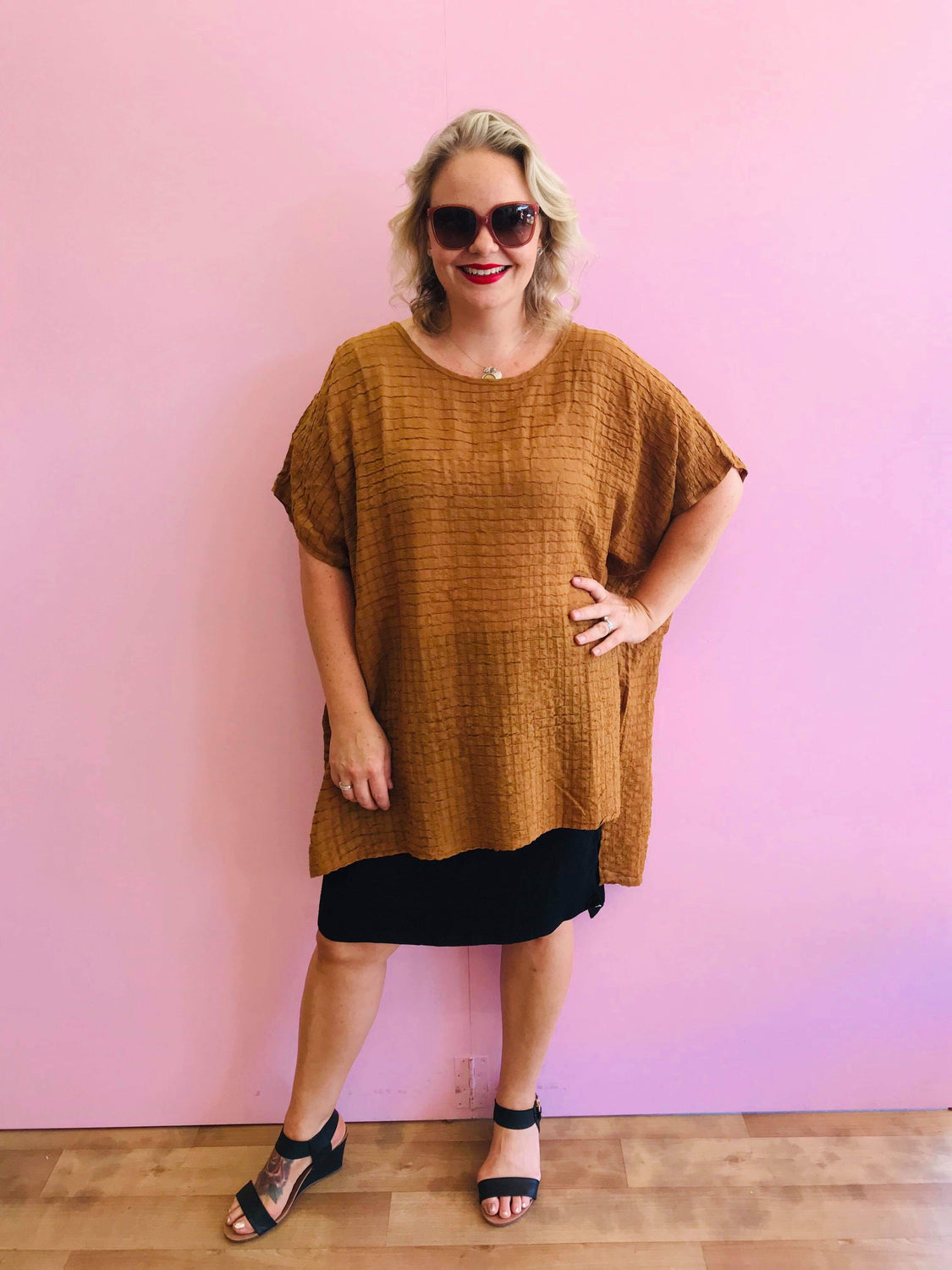 Rust Cotton High-Low Crinkle Top