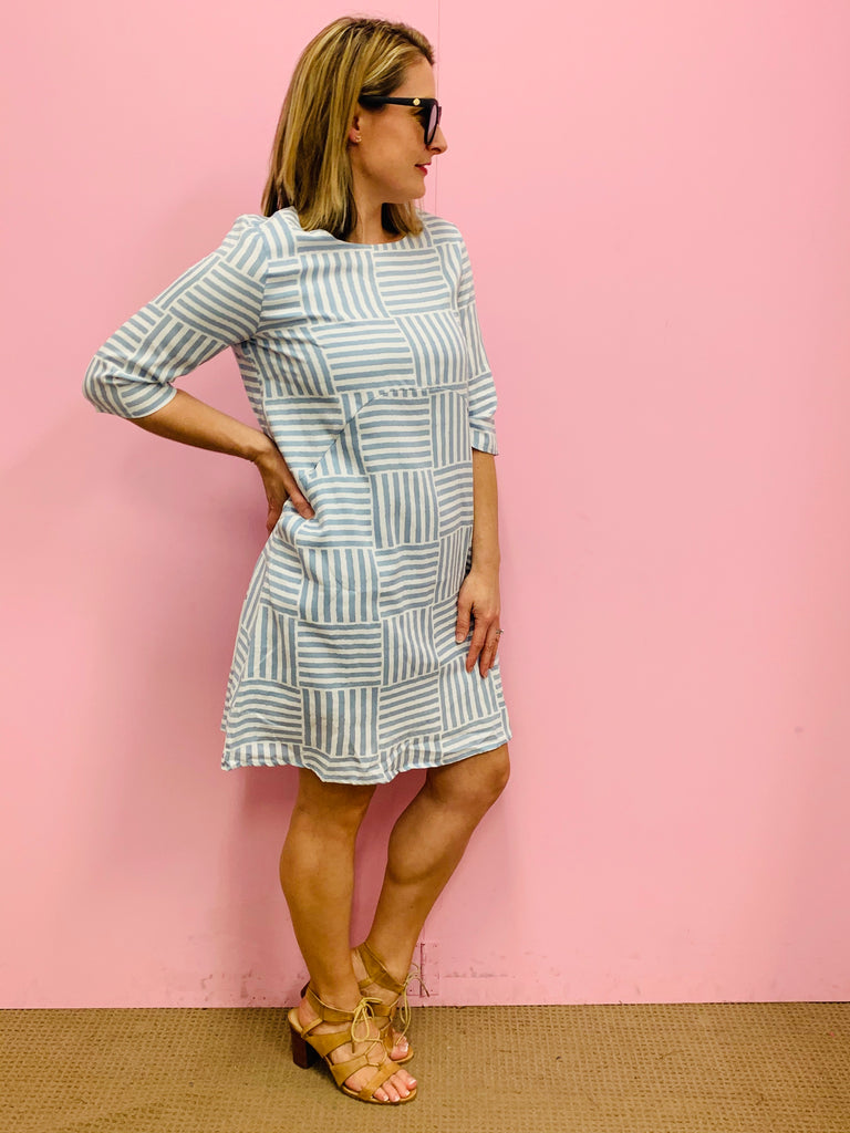 The Tayah Dress- Light Dusty Blue and White