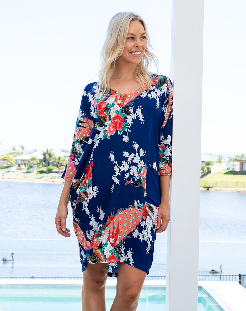 Navy Peacock Tunic Dress