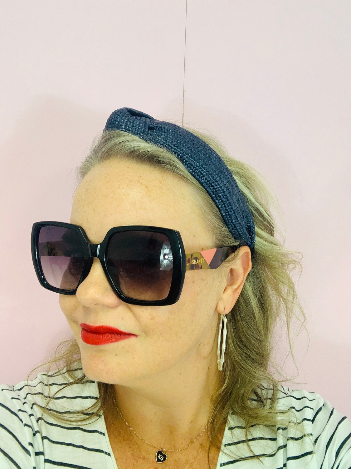 Straw Knot Headband - Navy