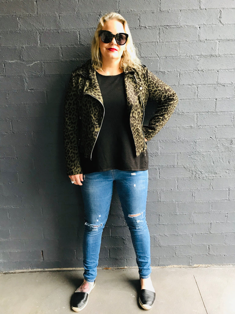 Khaki Animal Print Biker Jacket