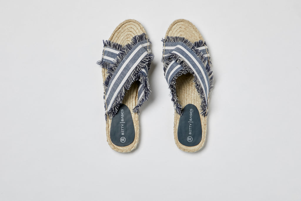 Sun Seeker Espadrille Slide - White/Ink Stripe