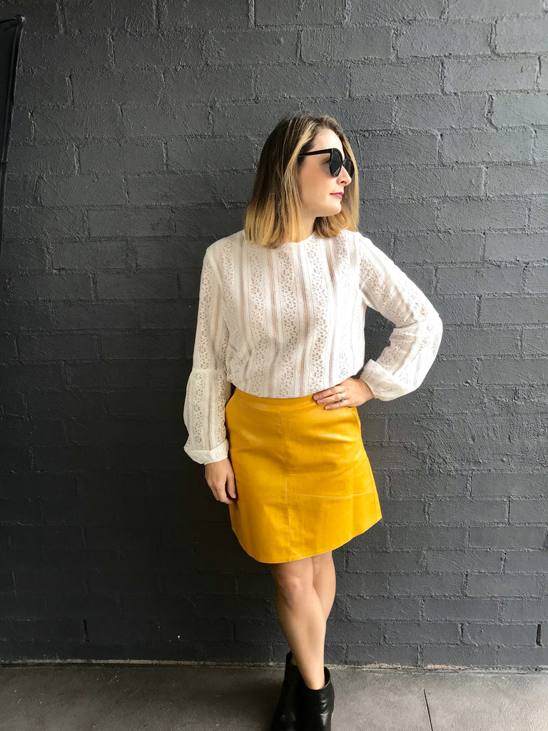 Mustard Minnie PU Leather Skirt