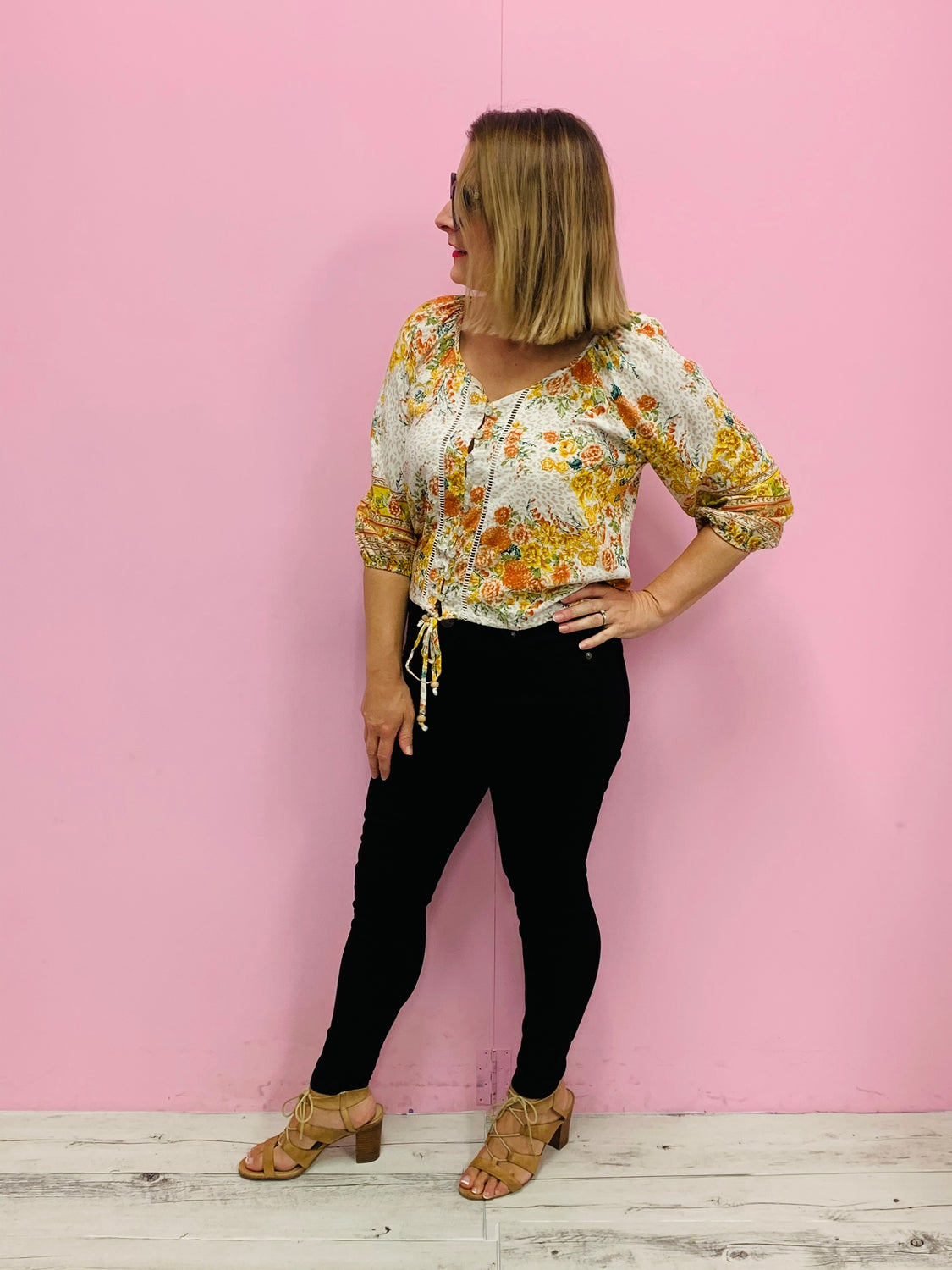 Bessie Boho Top- Yellow/Multi