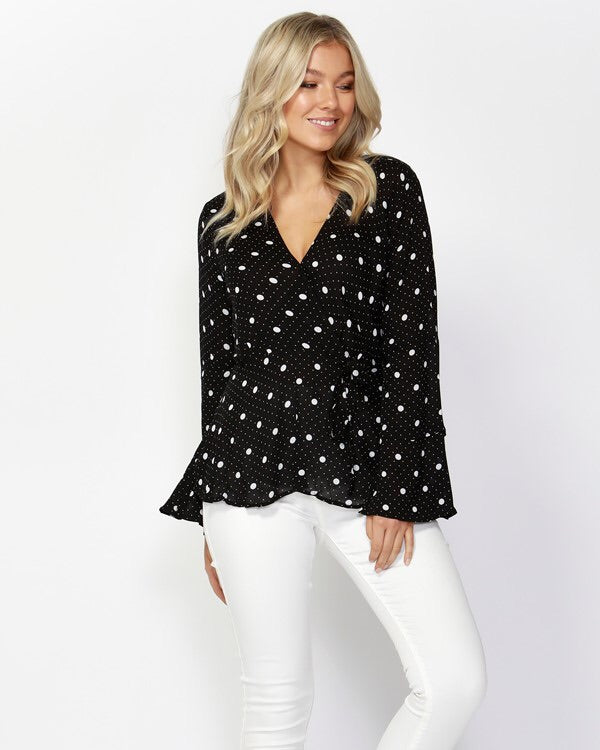 Spot On Wrap Blouse