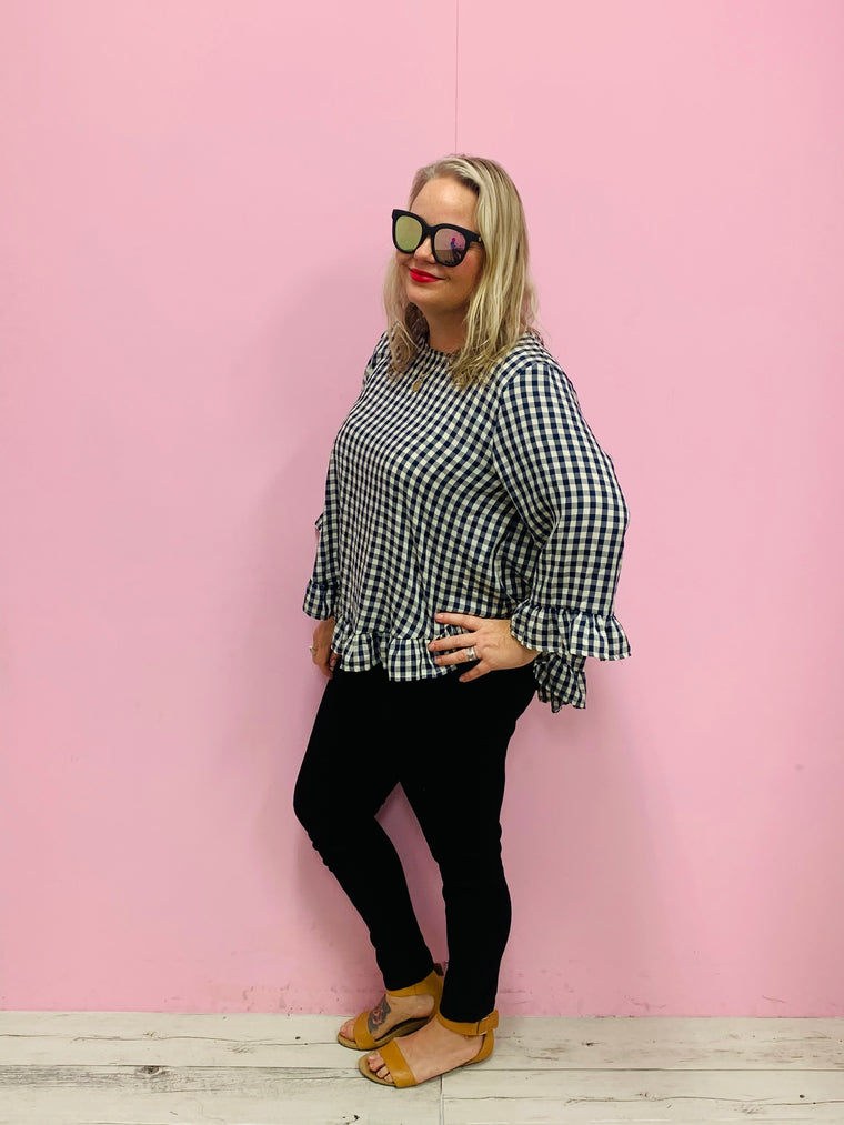Gingham Print Claudia Top
