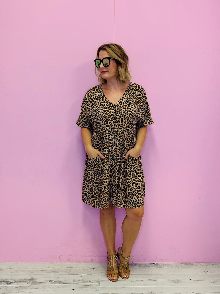 Leopard Box Dress- Mocha