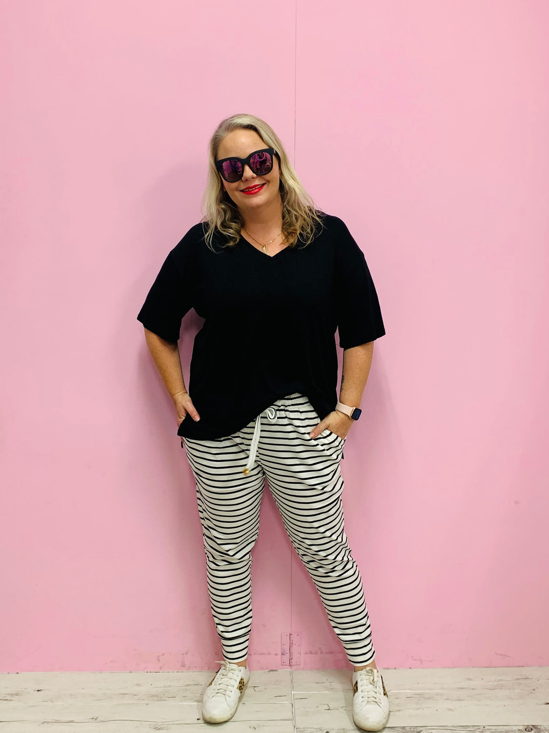 Comfy Cuffed Jogger- Black and White Stripe