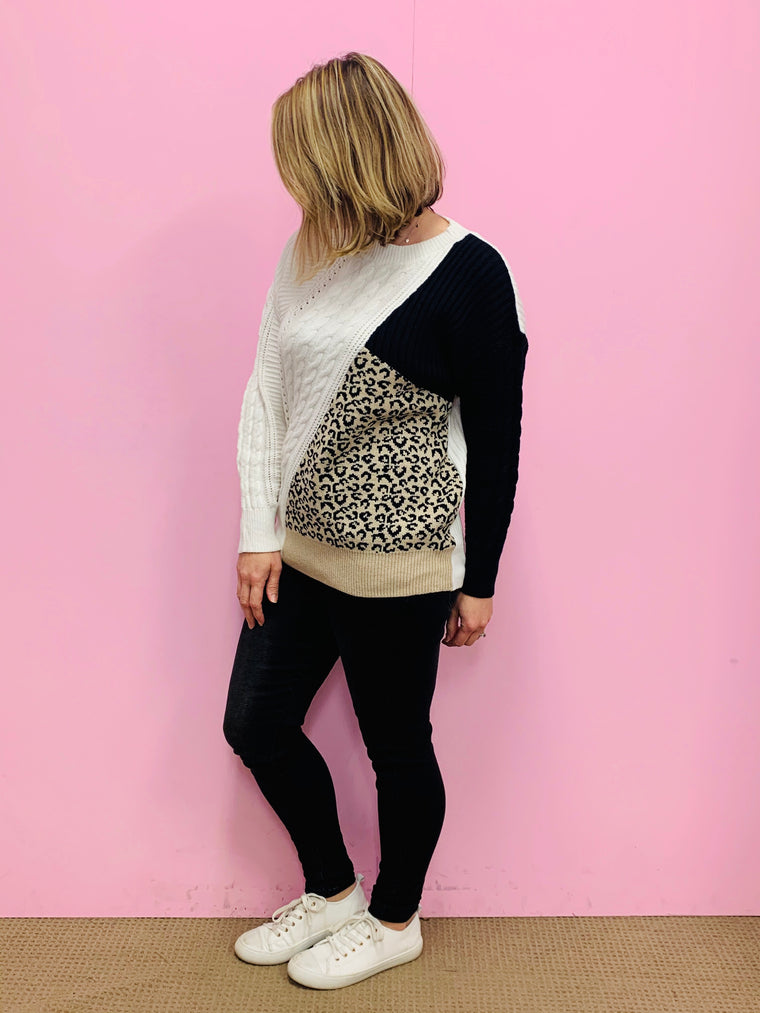 White/Black Animal Print Sweater