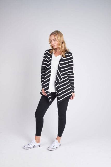Drop Front Cardi - Black and White Stripe