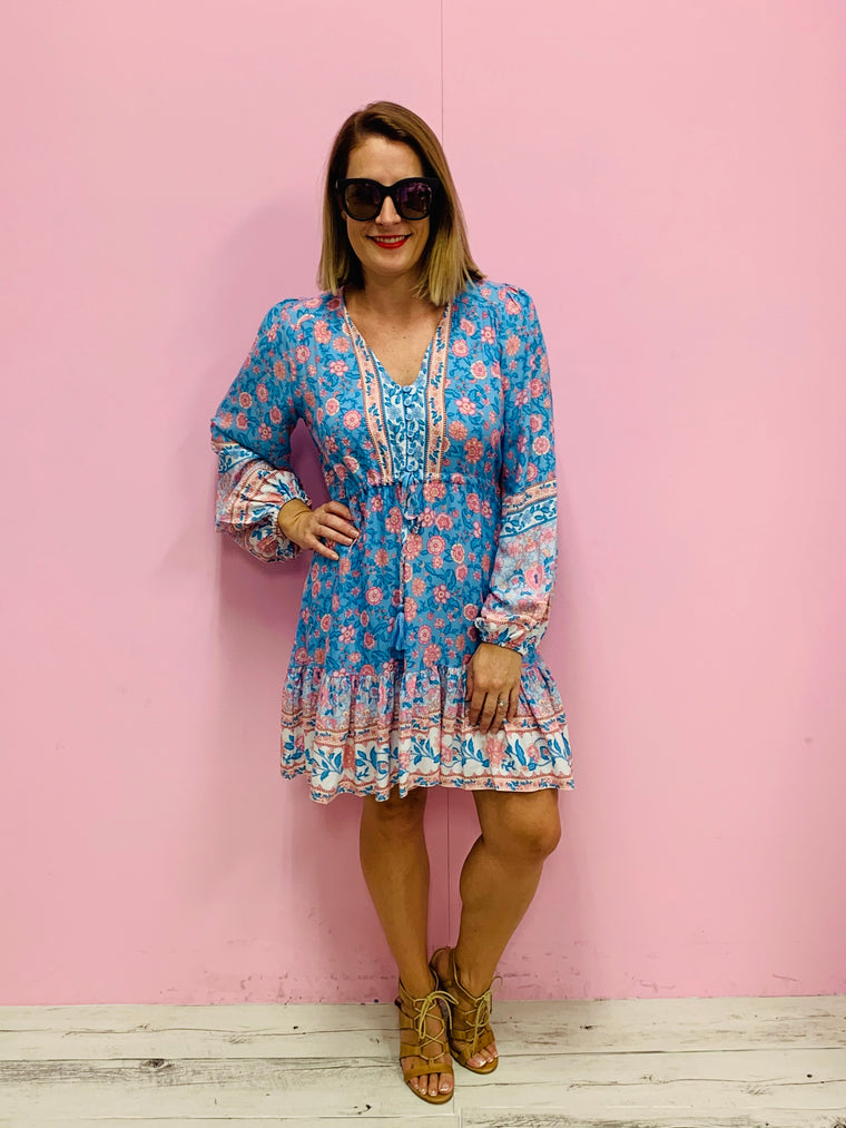 The Lucy Boho Dress-Blue/Multi
