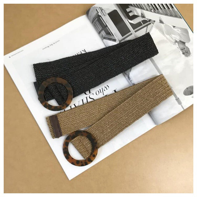 Black stretch straw belt